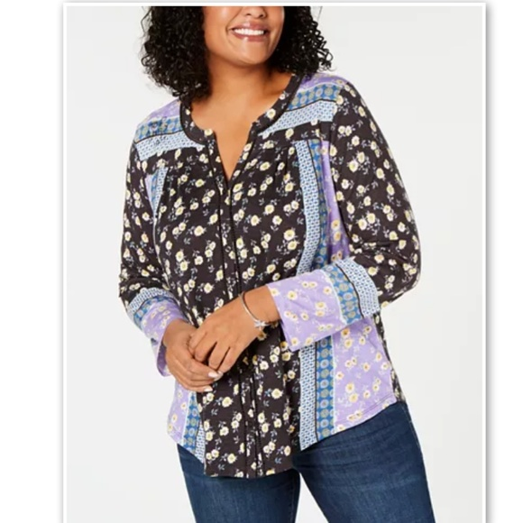 Style & Co Tops - Style & Co Macys Plus Crochet Mix Floral Print Top
